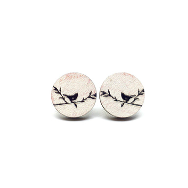 Vintage Love Birds Wooden Earrings - Earrings - Paperdaise Accessories - Naiise