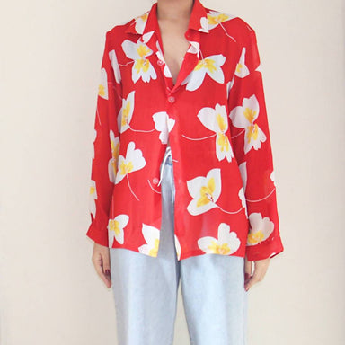 Vintage Red Floral Blouse - Women's Tops - Lucky Chance - Naiise