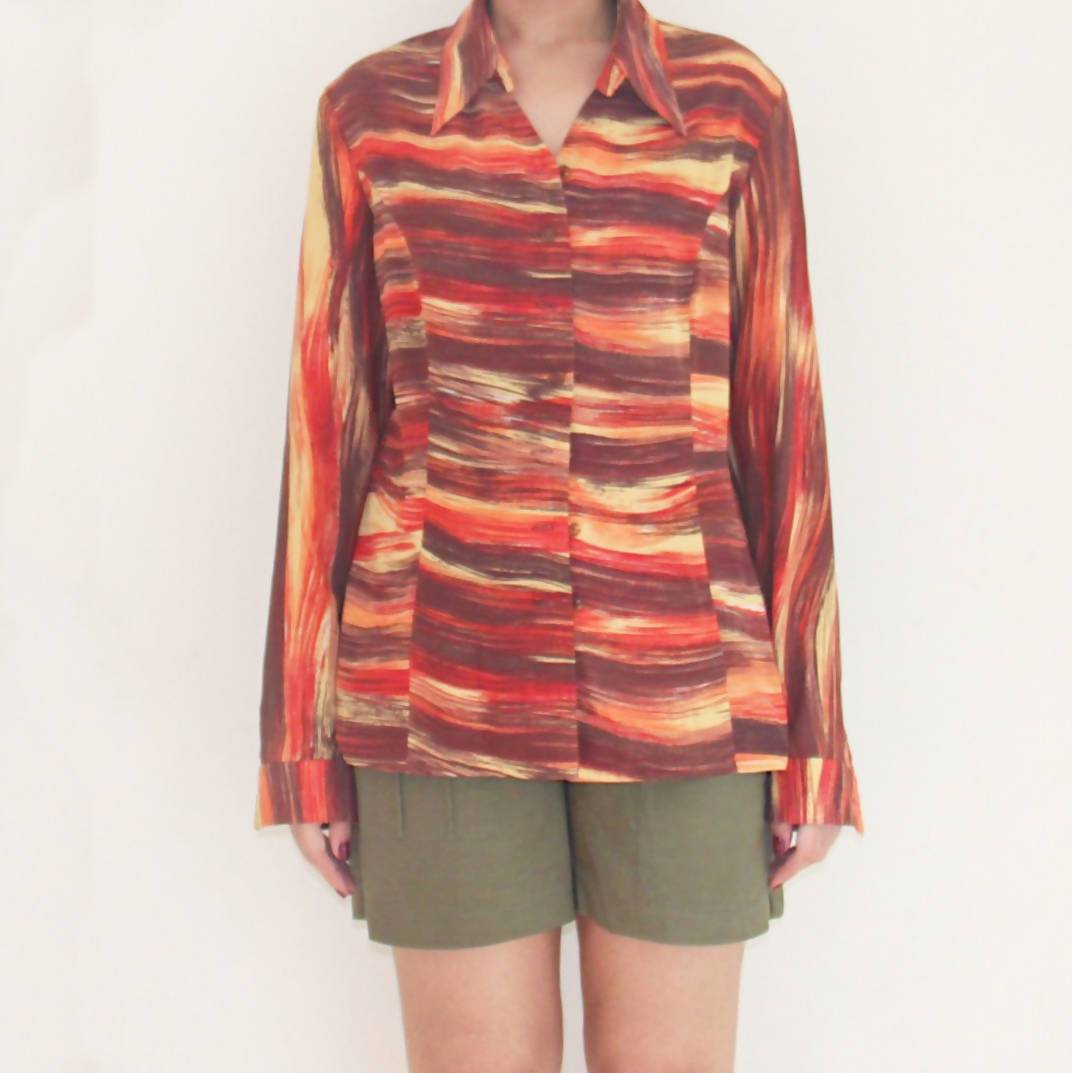 Vintage Sunset Hues Striped Blouse - Women's Tops - Lucky Chance - Naiise