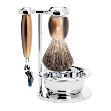 Vivo shaving set, horn brown resin with Gillette Fusion razor - Shaving Set - MÜHLE Singapore - Naiise