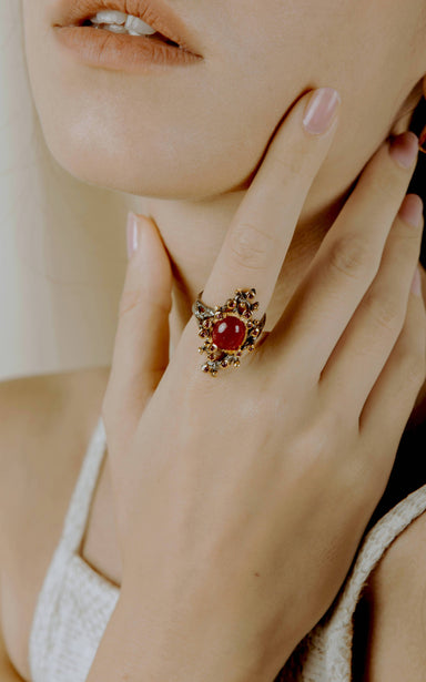 Minerva Ruby and Rhodolite Ring - Rings - Salalo Amot - Naiise