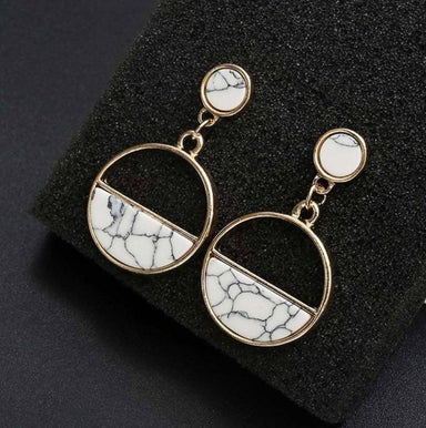 Half Moon Natural Stone Earrings - White Marble - Earrings - Whispers & Anarchy - Naiise