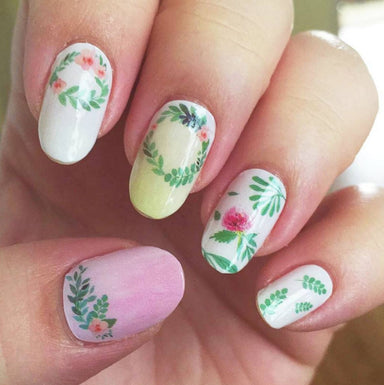 Watercolour Flower Nail Wrap Nail Wraps Personail