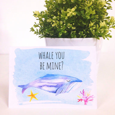 Whale You Be Mine Card Print - Love Cards - Peonies In Print - Naiise