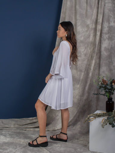 White Exposed Back Bell Sleeve Dress - Dresses - Whispers & Anarchy - Naiise