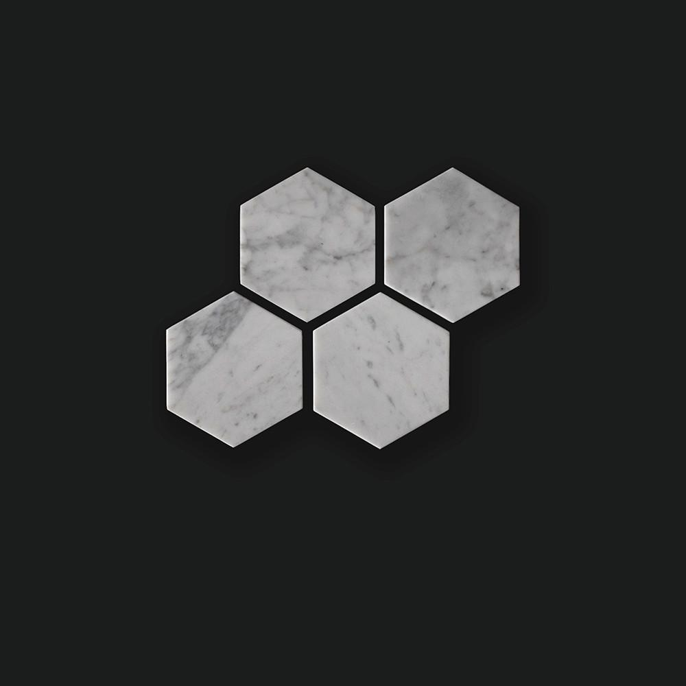 White Hexagonal Marble Tiles - Set of 4 - Coasters - Comme Home - Naiise