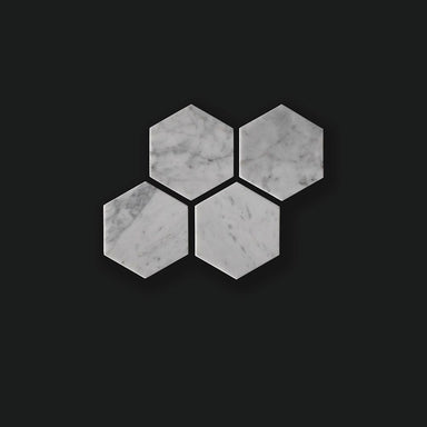 White Hexagonal Marble Tiles - Set of 4 Coasters Comme Home