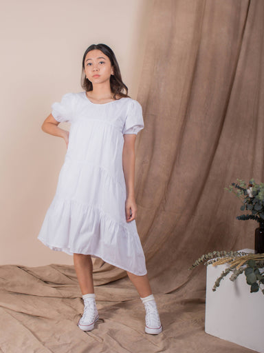 White Puffed Sleeve Tiered Dress - Dresses - Whispers & Anarchy - Naiise