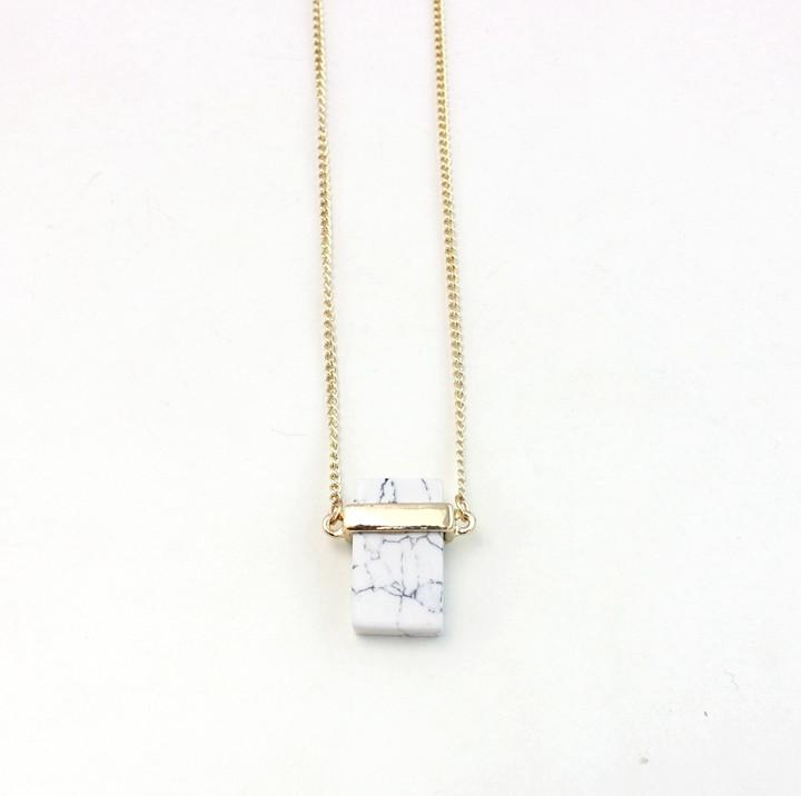 White Rectangular Clay Long Necklace - Necklaces - Bacteria Secret - Naiise