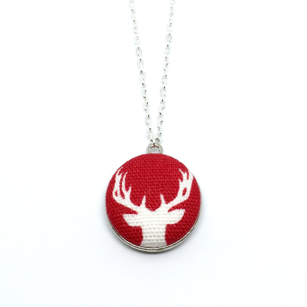 White Reindeer Handmade Fabric Button Christmas Necklace Necklaces Paperdaise Accessories