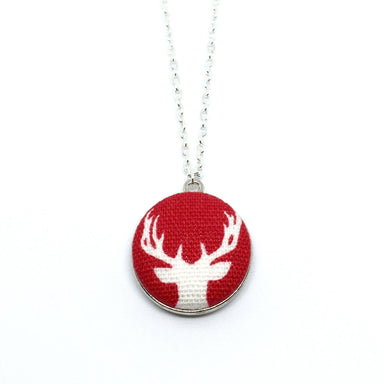 White Reindeer Handmade Fabric Button Christmas Necklace - Necklaces - Paperdaise Accessories - Naiise