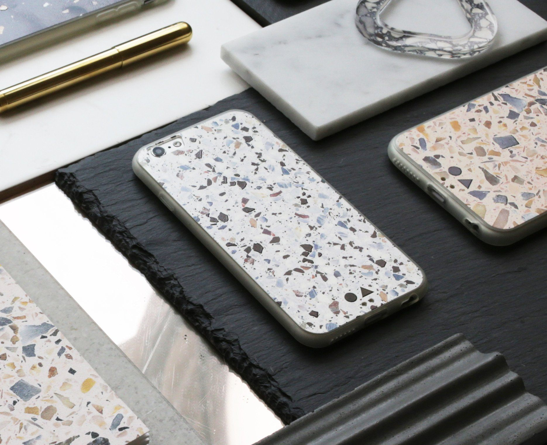 White Terrazzo iPhone Case - iPhone 6s - Phone Cases - FormMaker - Naiise
