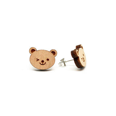Winking Bear Laser Cut Wood Earrings - Earrings - Paperdaise Accessories - Naiise