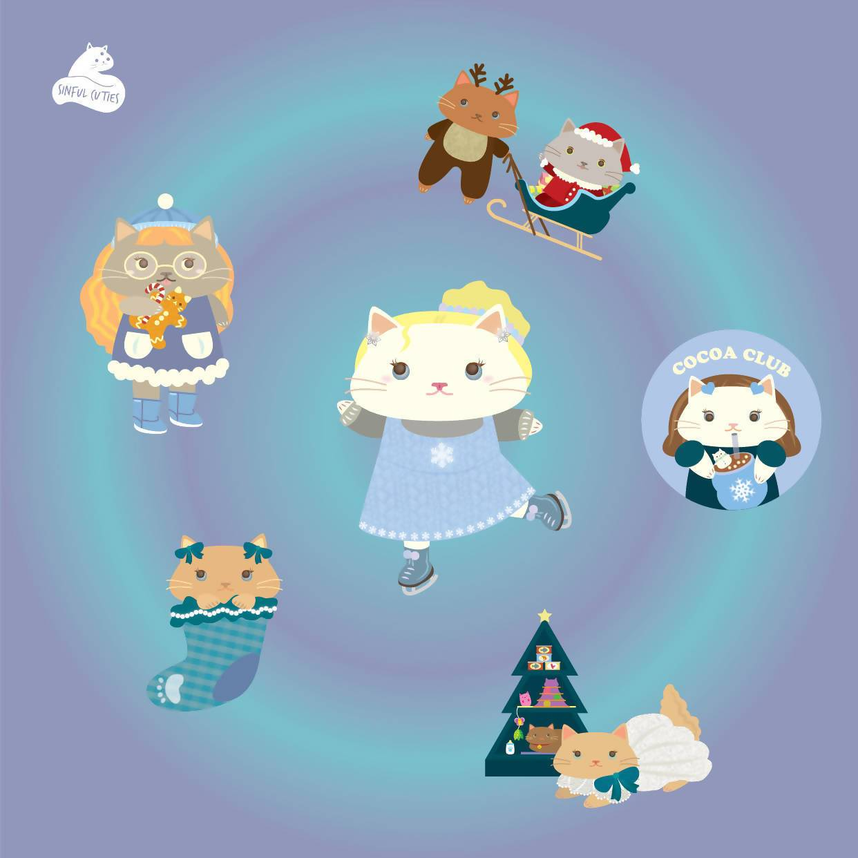 Winter Stickers - 6 pcs Sticker Pack - Stickers - Sinful Cuties - Naiise