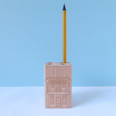 Wooden Singapore Shophouse Pencil Holder Local Stationery Just Sketch