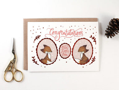 WW-GC#22 - Congratulations, New Little One, Copper Foil Greeting Card - New Baby Cards - Whimsy Whimsical - Naiise