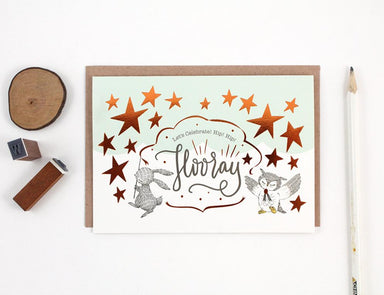 WW-GC#27 - Let's Celebrate, Hip Hip Hooray, Copper Foil Greeting Card Congratulations Cards Whimsy Whimsical