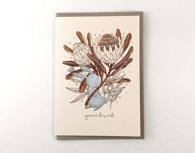 WW-GC#28 - You're Loved - Rabbit & King Protea - Generic Greeting Cards - Whimsy Whimsical - Naiise