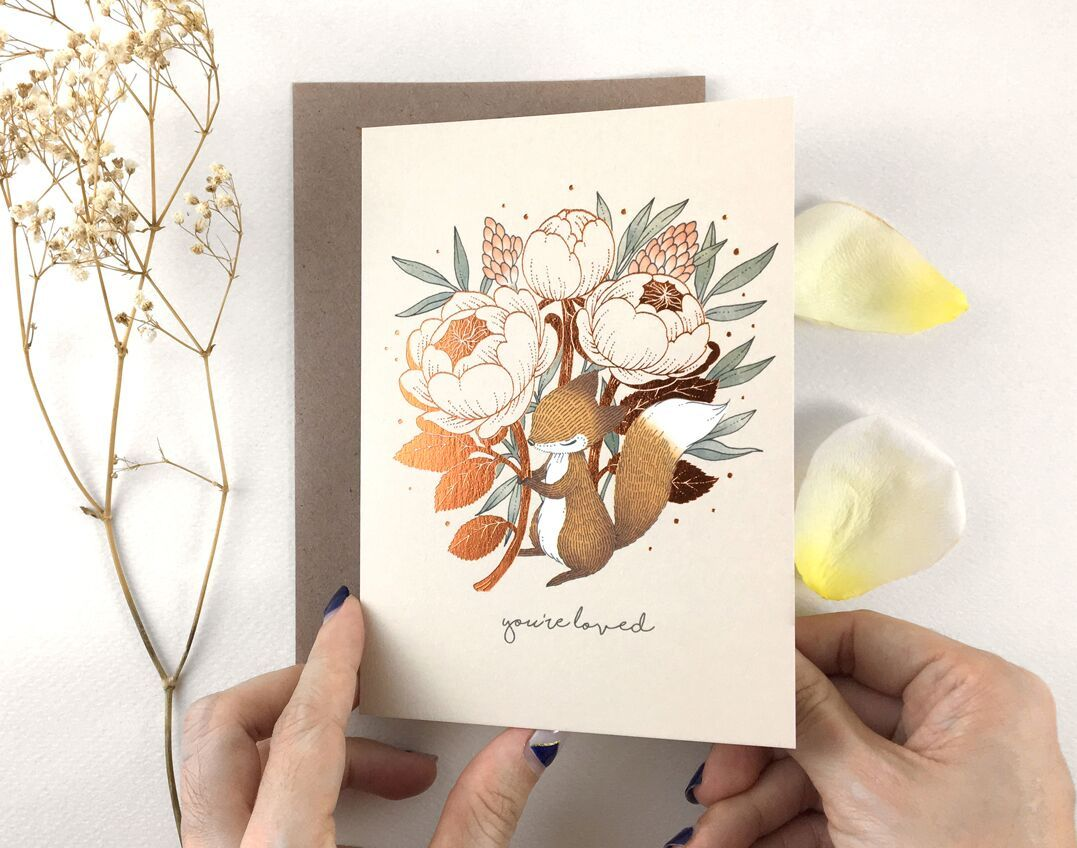 WW-GC#29 - You're Loved - Fox & David Austin Rose - Generic Greeting Cards - Whimsy Whimsical - Naiise