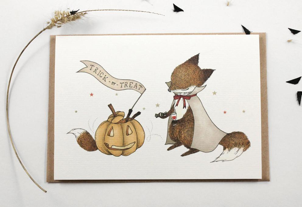 WW-HGC#2 - Trick or Treat Greeting Card - Halloween Cards - Whimsy Whimsical - Naiise