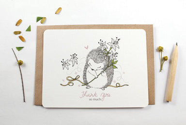 WW-NC#11 - Thank You, Hedgehog & Honeysuckle Flower Note Card Thank You Cards Whimsy Whimsical