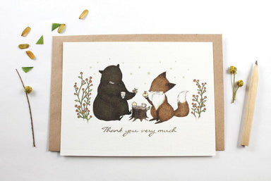 WW-NC#13 - Thank You - Bear & Fox Note Card Thank You Cards Whimsy Whimsical