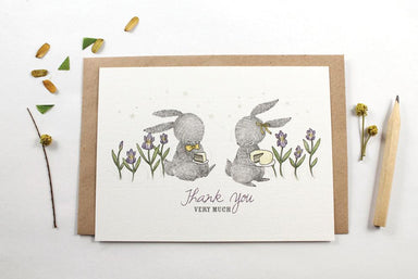 WW-NC#14 - Thank You - Rabbit & Cake Note Card Thank You Cards Whimsy Whimsical