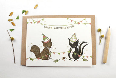 WW-NC#15 - Thank You - Squirrel & Skunk Note Card Thank You Cards Whimsy Whimsical