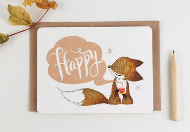 WW-NC#19 - Thank You - Happy Fox Note Card - Thank You Cards - Whimsy Whimsical - Naiise