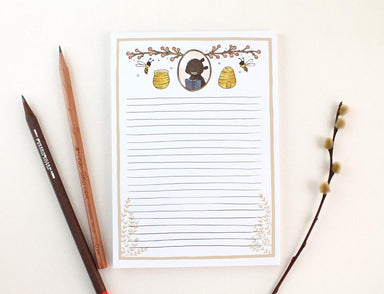 WW-NP#6 - Bear and Honey Bee Notepad Notepads Whimsy Whimsical