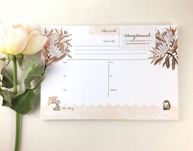 WW-WDP#1 - Rabbit, Hedgehog & King Protea - Planners - Whimsy Whimsical - Naiise