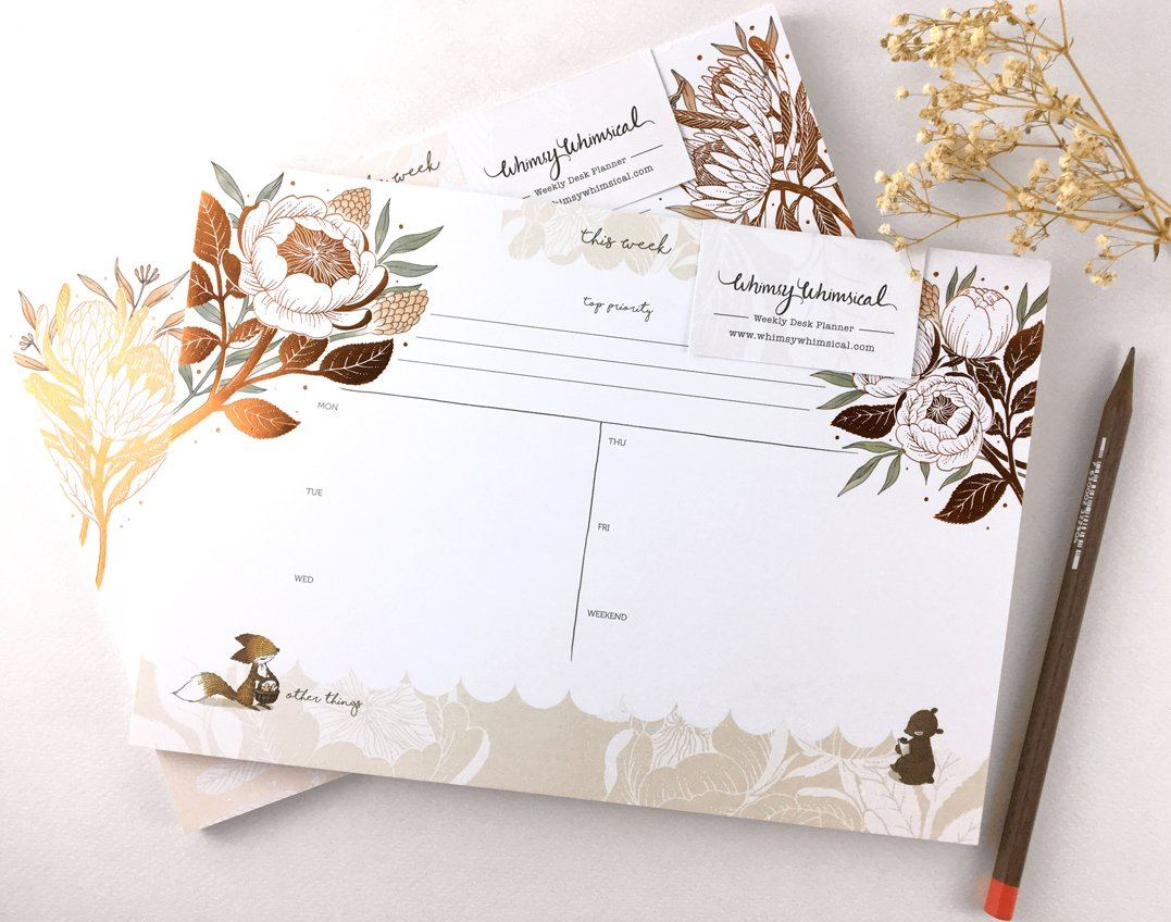 WW-WDP#2 - Fox, Bear & David Austin Rose - Planners - Whimsy Whimsical - Naiise