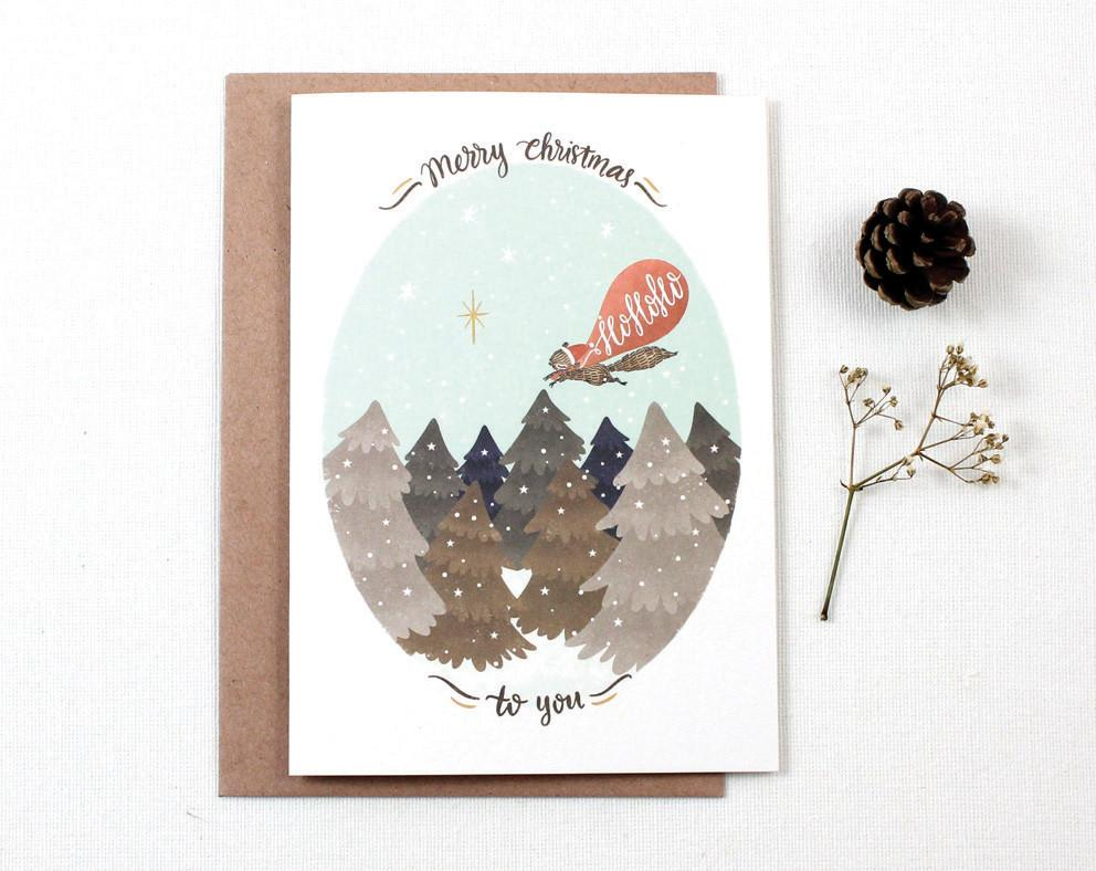 WW-XGC#11 - Merry Christmas Ho Ho Ho Greeting Card - Christmas Cards - Whimsy Whimsical - Naiise