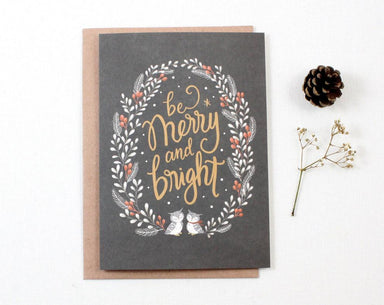 WW-XGC#12 - Be Merry and Bright Greeting Card - Christmas Cards - Whimsy Whimsical - Naiise