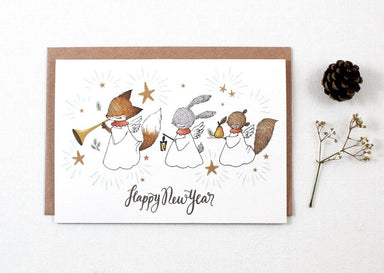 WW-XGC#14 - Happy New Year Angels Greeting Card - Naiise