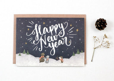 WW-XGC#16 - Happy New Year, Starry Night Greeting Card - New Year Cards - Whimsy Whimsical - Naiise