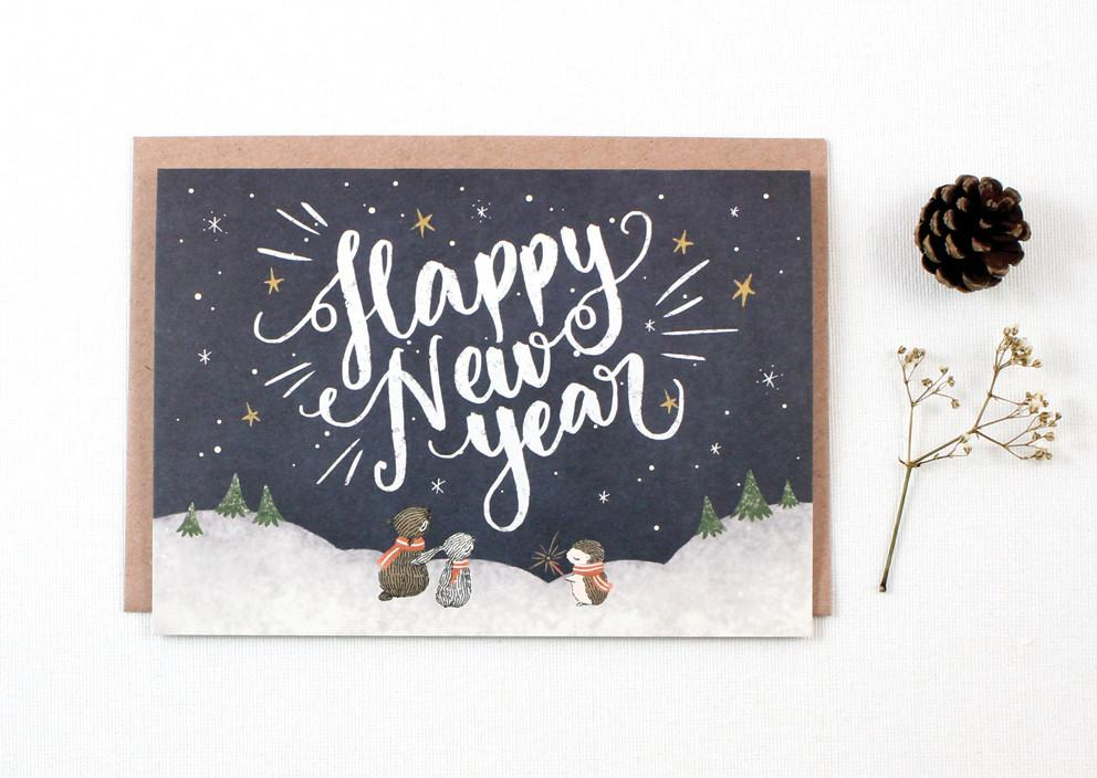WW-XGC#16 - Happy New Year, Starry Night Greeting Card - Naiise