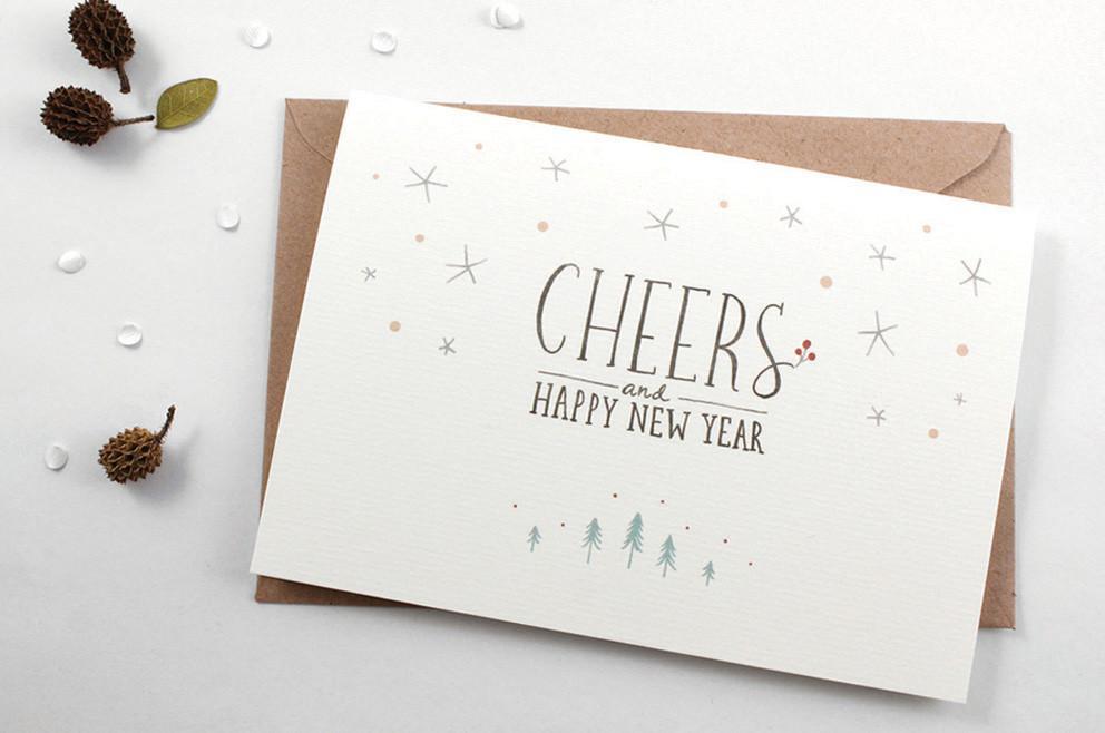 WW-XGC#5 - Cheers & Happy New Year Greeting Card - New Year Cards - Whimsy Whimsical - Naiise