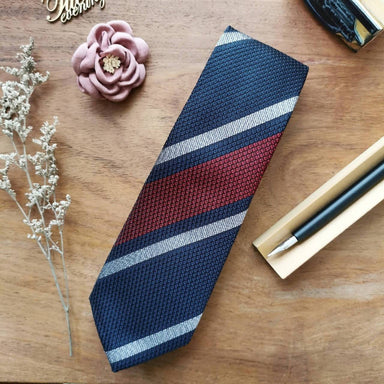 Necktie Wide Stripe in Midnight Blue with Red and White | 8cm - Ties - Tuesday Evening - Naiise