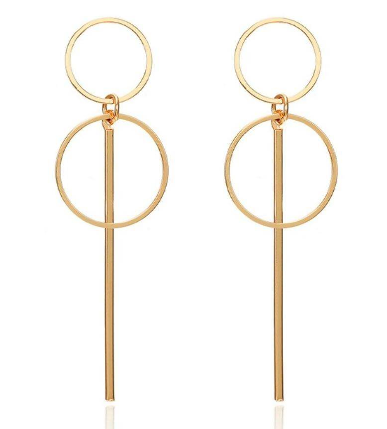 Double Circle Drop Geo Earrings - Earrings - Whispers & Anarchy - Naiise