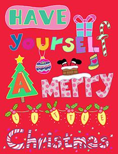 Xmas Have Yourself a Merry Xmas Card Christmas Cards Fevrier Designs