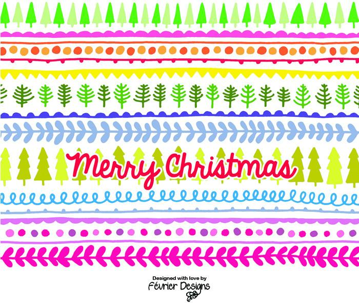 Xmas Tree Bunting Card Christmas Cards Fevrier Designs