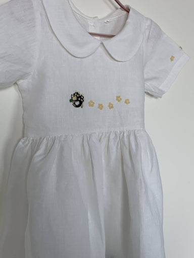 Daisy Linen Dress With Hand-embroidered Playful Porcupine - Kids Clothing - Smockful Of Love - Naiise