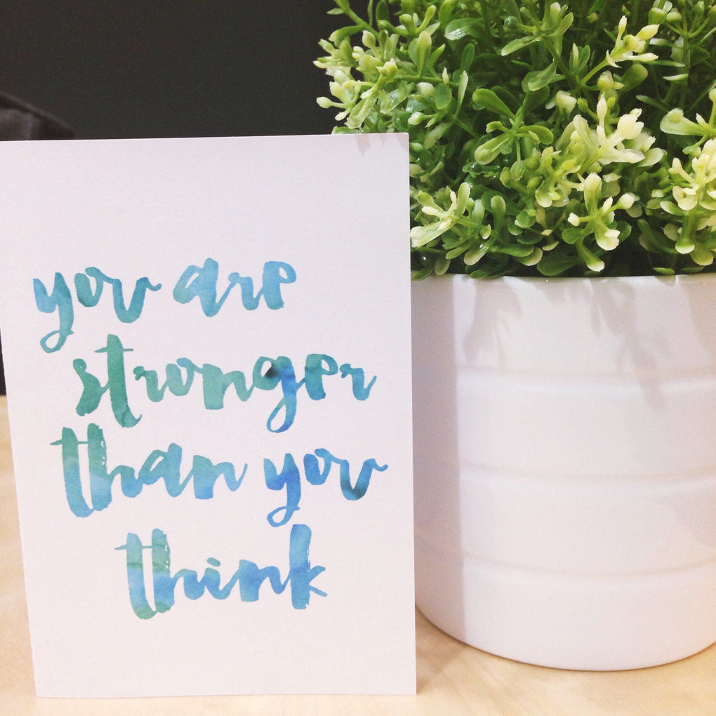 You Are Stronger Than You Think V2 Card Print blue Encouragement Cards Peonies In Print