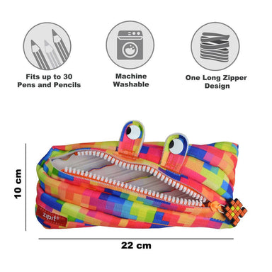Zipit Pixel Yellow Monster Pencilcase + Jumbo Pencilcase Bundle Gift Sets Zigzagme
