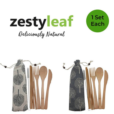 ZestyLeaf Bamboo Cutlery Travel Gift Set Utensils Zesty Leaf Design A + B