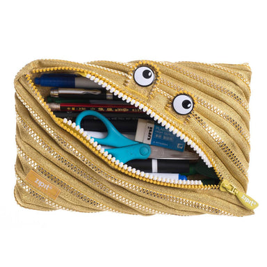 Zipit Monster Jumbo Pouch Gold - Pencil Cases - Zigzagme - Naiise