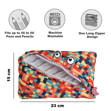 Zipit Pixel Monster Jumbo Pouch Blue & Red - Pencil Cases - Zigzagme - Naiise