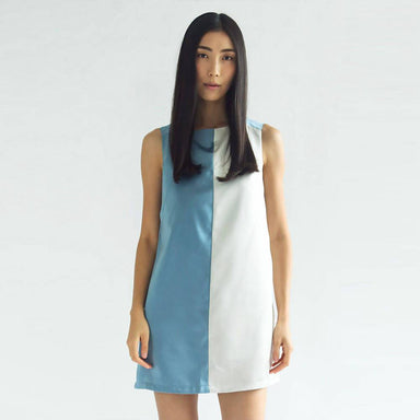 Zola Oriental Contrast Colour Panel Dress in Air Force Blue - Dresses - Salient Label - Naiise