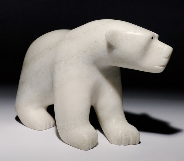 "8"" White Marble Walking Bear by Adamie Qaumagiaq"